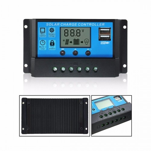 Mohoo 30A 12V/24V Auto Dual USB Port LCD PWM Solar Panel Regulator Charge Controller