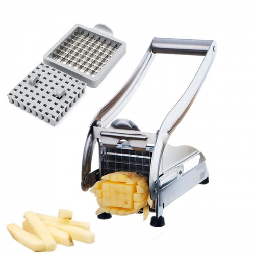 Stainless Steel French Fry Potato Cutter Maker Slicer Chopper Dicer with 2 Blades