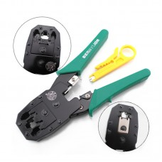 BERRYLION 3-in-1 Network Crimping Pliers RJ45 RJ11 RJ12 Wire Cable Stripper Multi Tool Portable Crimper Network Hand Tools